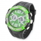 OuDaQi TGA-1019 Waterproof Sport Dual Time Quartz Watch - Black + Green (1 x CR2016 )