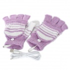 Stylish USB Heated Warm Gloves - Purple + White (Pair)