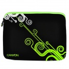 "Canyon NB21 Stylish Microfiber PU Leather Sleeve Bag for 10"" Laptop - Black + Green"