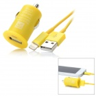 USB Car Charger w/ Lightning Cable Set for iPhone 5 - Yellow (100cm)