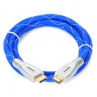 Zinc Alloy 3D 1080P HDMI V1.4 Male to Male Connection Cable - Blue + Silver (180cm)