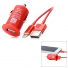 USB Car Charger w/ Lightning Cable Set for iPhone 5 - Red
