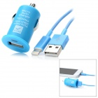 USB Car Charger w/ Lightning Cable Set for iPhone 5 - Blue