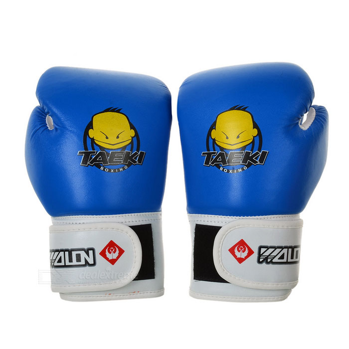 Cute Pattern Kid's PU Training Boxing Gloves - Blue + White (Pair) pu leather usa boxing gloves with american flag pair