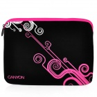 "Canyon NB21 Stylish Microfiber PU Leather Sleeve Bag for 10"" Laptop - Black + Deep Pink"