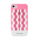 Newtons Geometric Pattern Plastic Back Case for Iphone 4 / 4S - Pink + White