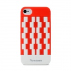 Newtons Geometric Pattern Plastic Back Case for Iphone 4 / 4S - Red + White