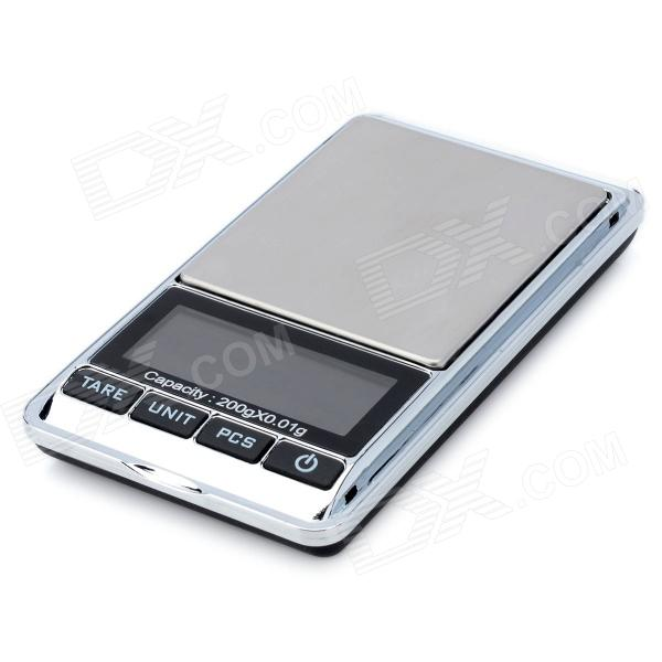"Portable 1.9"" LCD Precision Jewelry Digital Pocket Scale - Silver + Black (200g / 0.01g)"