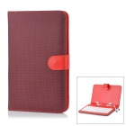Protective 80-Key Wired Keyboard PU Leather Case w / Stand / Stylus für 7'' Tablets - Schwarz + Rot