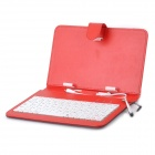 Protective 80-Key Wired Keyboard PU Leather Case w/ Stand / Stylus for 7'' Tablets - Black + Red