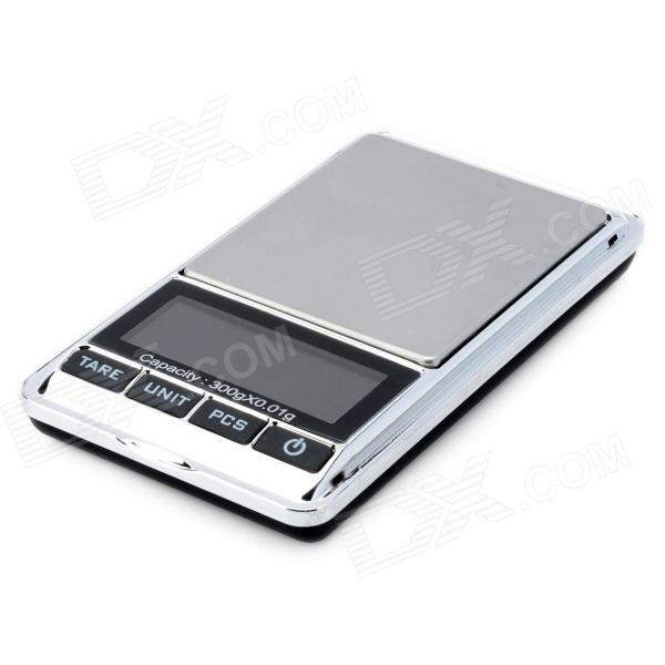 Portable 1.9 LCD Precision Jewelry Digital Pocket Scale - Silver + Black (300g / 0.01g) mini lcd display backlit portable digital scale 100g 0 01g 2 x aaa
