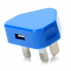 UK Plug USB Power Adapter - Blue + White (100~240V / 1A)