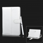 Universal Lichee Pattern Protective PU Leather Case w/ Stylus Pen for 7'' Tablets - White