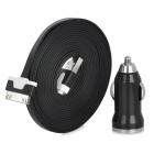 Car Charger + USB 2.0 Male to 30-Pin Male Data / Charging Cable for iPhone / iPod / iPad - Black