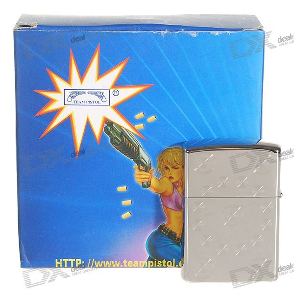 Glossy Oil Lighter with Protective Steel Case