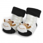 0716 Cute Cow Doll Cotton Non-Slip Baby Socks - Black + Brown + Milk White (Pair)
