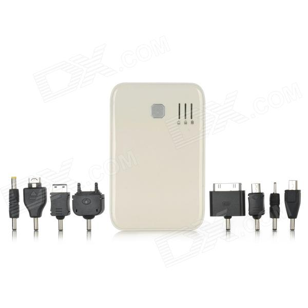 5000mAh Dual USB Output Portable External Emergency Power Charger for Cellphone/ iPad + More - White