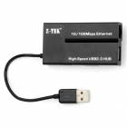 USB 2.0 10/100Mbps Ethernet Network Card + 3-USB 2.0 Ports HUB Adapter - Black (10cm-Cable)