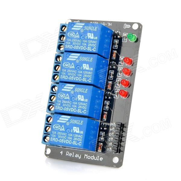 4-Channel 5V Relay Module - Black + Blue fused 4 dpdt 5a power relay interface module g2r 2 12v dc relay