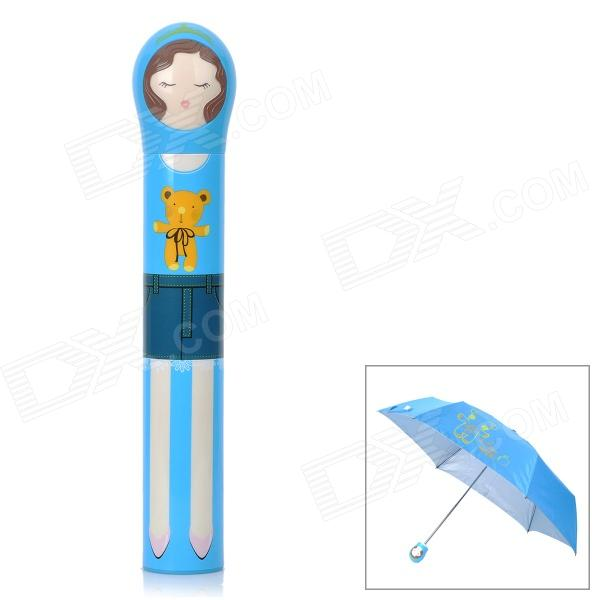 HW818B 3-Fold Princess Style Anti-UV Umbrella w/ Storage Bottle - Blue new panda windproof anti uv sun rain flower princess parasol folding umbrella bumbershoot