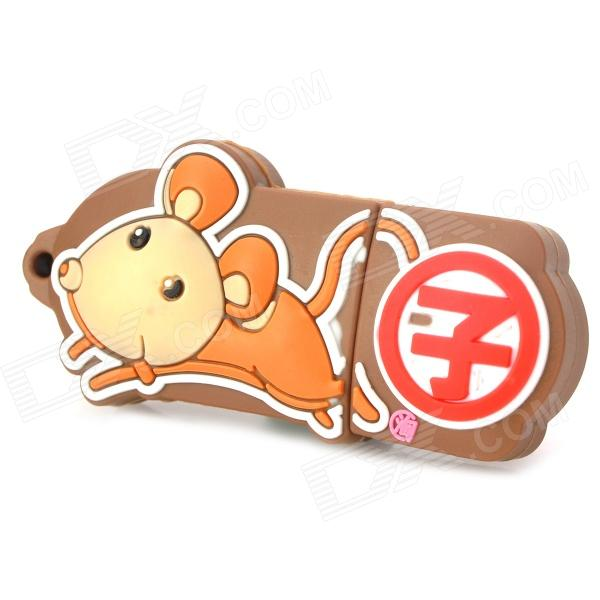 Twelve Zodiac Mouse Style USB 2.0 Flash Disk Device - Brown + Red (4GB)