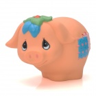 Cute Fat Pig with Flower Style PVC Coin Bank - Beige Red