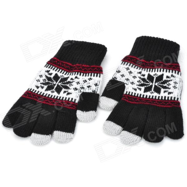 купить Snowflake Pattern Capacitive Screen Touching Hand Warmer Gloves - Black + White + Grey (Pair) дешево
