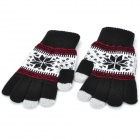 Snowflake Pattern Capacitive Screen Touching Hand Warmer Gloves - Black + White + Grey (Pair)