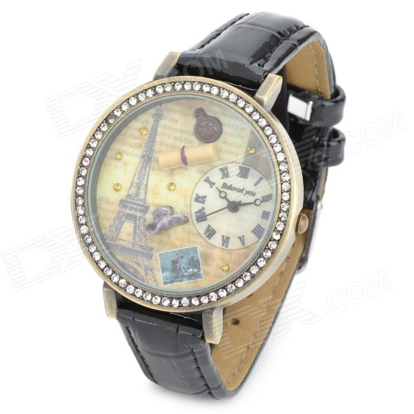 Eiffel Tower Pattern PU leather Band Round Dial Quartz Wrist Watch - Black + Bronze (1 x 377) s012 stylish shiny crystal inlaid leaf patterned analog quartz wrist watch w pu band 1 x 377