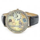 Eiffel Tower Pattern PU leather Band Round Dial Quartz Wrist Watch - Black + Bronze (1 x 377)