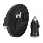 MTX-05 Car Charger Plug + 8-Pin Lightning Data/Charging Flat Cable for iPhone 5 / iPad Mini - Black