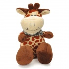 Cute Leopard Spot Plush Pony Doll Toy with Scarf / Suction Cup - Brown + Yellow