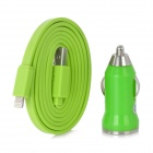 MTX-05 USB 8 Pin Lightning Male to USB Male Flat Cable w/ Car Charger - Green