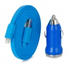 MTX-05 Car Charger Plug + 8-Pin Lightning Data/Charging Flat Cable for iPhone 5 / iPad Mini - Blue