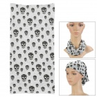 Multifunction Skull Pattern Outdoor Sports Seamless Head Scarf - Grey + Black