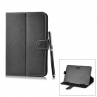 Universal Lichee Pattern Protective PU Leather Case w/ Stylus Pen for 7'' Tablets - Black