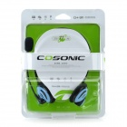 COSONIC CH-911 Back-Headphones w/ Microphone for PC / Laptop - Black + Blue (3.5mm Plug / 2m -Cable)