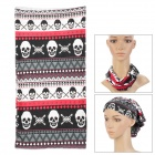 Multifunction Skull Pattern Outdoor Sports Seamless Head Scarf - Black + White + Red