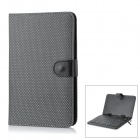 Protective 80-Key Wired Keyboard PU Leather Case w/ Stand / Stylus for 7&#039;&#039; Tablets - Black + Silver