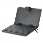 Protective 80-Key Wired Keyboard PU Leather Case w/ Stand / Stylus for 7'' Tablets - Black + Silver
