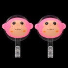 Creative Monkey Head Style Wall Mount Hook with Suction Cup - Pink (2 PCS)