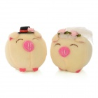 Soft Plush Cute Wedding Pig Couple Doll Toys - Beige (Pair)