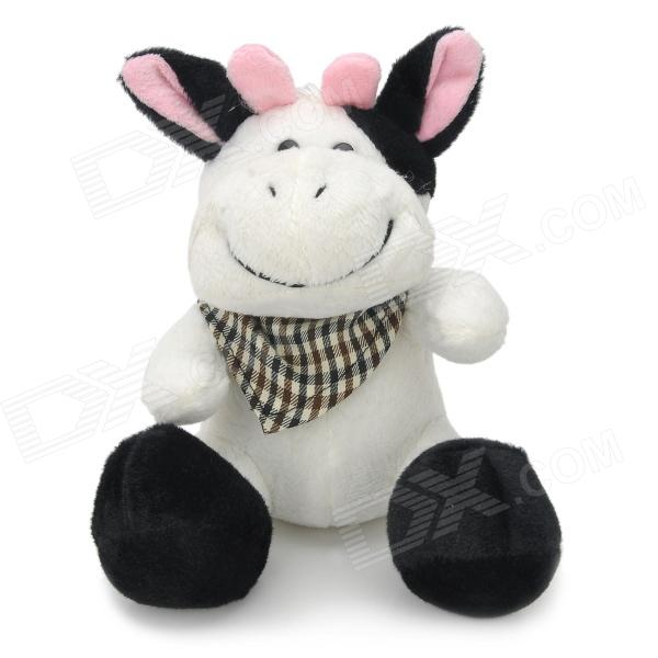 Cute Plush Cow Doll Toy with Scarf / Suction Cup - Black + White