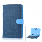 Protective 80-Key Wired Keyboard PU Leather Case w / Stand / Stylus für 7'' Tablets - Blau + Schwarz