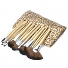 Professional Cosmetic Makeup Brushes Set w/ Leopard Grain PU Bag - Golden + Brown (24 PCS)