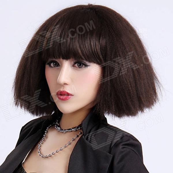 Finding Color FCWG033 Short Fluffy BoBo Synthetic Hair Wig - Dark Brown high quality synthetic hair wig women s naturally curly short wig many color for your choose
