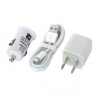 AC Power + Car Charger Adapter + 8-Pin Lightning Charging/Data Cable for iPhone 5 - White