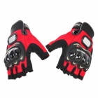 PRO-BIKER MCS-04 Motorcycle Racing Half-Finger Protective Gloves - Red + Black (Size L / Pair)