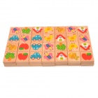Cute Cartoon Patterns Wooden Domino Blocks (28 PCS)