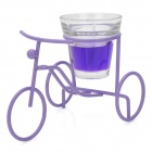 Creative Aluminum Bicycle Model Style Holder with Candle - Purple